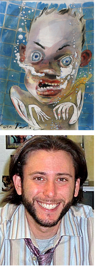 Top: illustration for Chuck Palahniuk's Guts. Bottom: teacher Greg Van Voorhis.