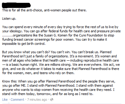 Outrage against Susan G. Komen's move to defund Planned Parenthood