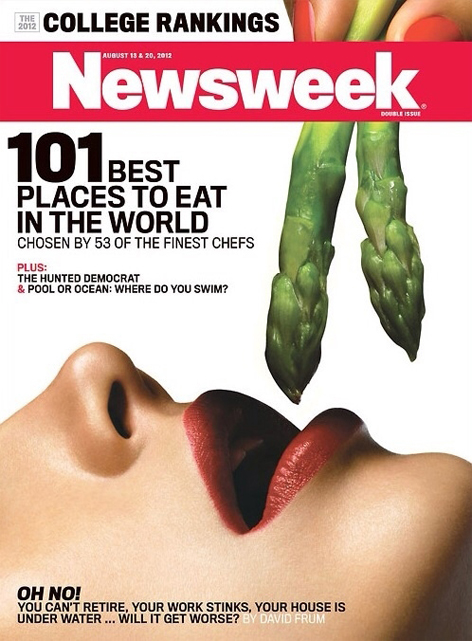 Newsweek cover with asparagus fellatio